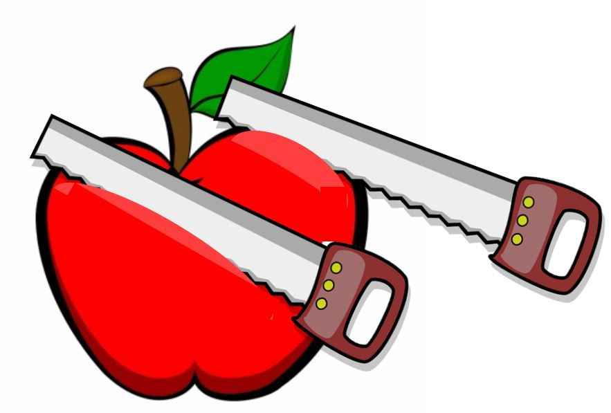 Two saws cutting into an apple