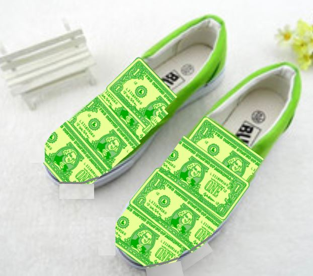 Shoes made out of money